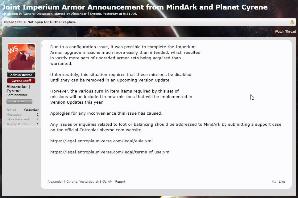 Update about Imperium Armor upgrade missions, a sad one.